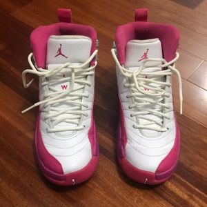 Pink and white Jordan 12 worn twice